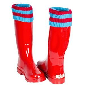 NWT Forever Young Red Cuff Rain Boots Size 8